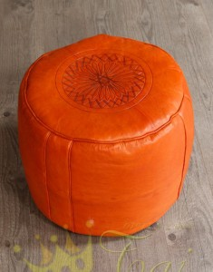 Moroccan-Leather-Pouffe-Orange2