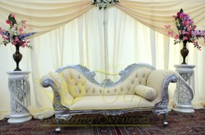 19. Silver double seat sofa